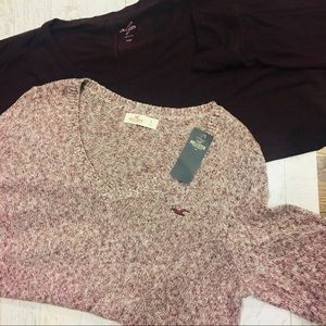 Large Maroon Anthropologie Long Sleeve Blouses